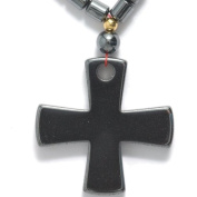 Shipwreck Beads Hematite 43cm Necklace with 29 by 29-mm Cross