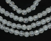 Rock Crystal 4mm Genuine Quartz Strand Round Faceted A+ Beads 15""