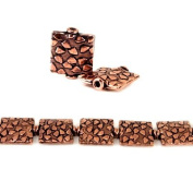 12mm Antiqued Copper Cobblestone Embossed Square Beads, 8 inch, 15 beads