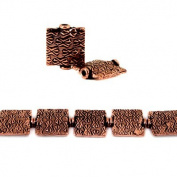 12mm Antiqued Copper Kisses Embossed Square Beads, 8 inch, 15 beads