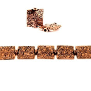 12mm Antiqued Copper Hearts Embossed Square Beads, 8 inch, 15 beads