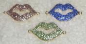 3pcs Gold Rhinestone Lip Shaped Bracelet Connectors - Blue, Light Amethyst and Lime Green