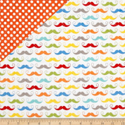 Riley Blake Double Sided Quilted Moustache White Fabric