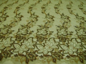 Taupe- fancy Lace Design with Embroidery and Beads on Polyester Mesh