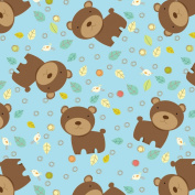 Fun the Bear, Bird & Leaves Fleece Throw Blanket with Finished Edges Anti Pill