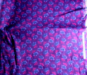 Peter Pan Fabrics Purple Teal Floral Cotton VINTAGE FABRIC 1.5 Yd 110cm W