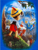 "Thomas Kinkade PINOCCHIO Fabric Panel ""WISH UPON A STAR!"" (Great For Quilting, Throws, Sewing, Craft Projects, Wall Hangings, and More) 120cm x 160cm"