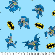 DC Comics Super Friends BATMAN LOGO Sky Blue Fabric (Great for QUILTING, SEWING, CRAFT PROJECTS, THROW PILLOWS & More) 2 Yards x 110cm Wide