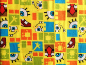 Nickelodeon SpongeBob SquarePants FUNNY FACES SQUARED Sewing Quilting Craft FLANNEL Fabric