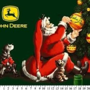 JOHN DEERE with SANTA CLAUS Fleece Fabric Panel (Great For Quilting, Throws, Sewing, Christmas Craft Projects, Wall Hangings, and More) 120cm x 170cm