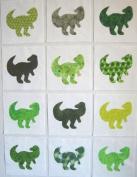 12 Applique Green Dinosaur Quilt Blocks 17cm Squares