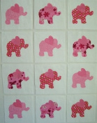 12 Applique Pink Elephant with Heartshaped Ears Quilt Blocks 17cm Squares