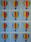 12 Applique Scrap Hot Air Balloon Quilt Blocks 17cm Squares