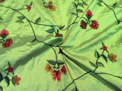 Green 100% Silk Shantung W/embroidery Fabric 140cm Wide By the Yard