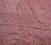 Indian Sari Women Wrap Dress Recycled Fabric Vintage Art Silk Embroidered Work Craft Fabric Salmon Art Decor Saree