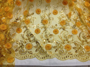 Yellow Mesh W/gold Metallic Corded Embroidery Lace Fabric 130cm Wide By the Yard
