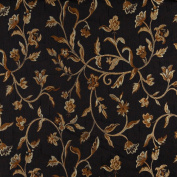 140cm Wide K0011C Midnight, Gold And Ivory Embroidered, Floral Brocade, Upholstery and Window Treatments Fabric By The Yard
