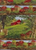 "AN APPLE A DAY ""Harvest Time on the Farm"" Fabric (Great For Quilting, Throw Pillows, Sewing, Craft Projects, Wall Hangings, and More) 2 Yards x 110cm"