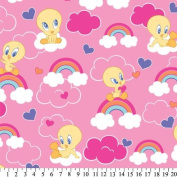 Baby Looney Tunes TWEETY BIRD Pink FLEECE Fabric (Great for QUILTING, SEWING, CRAFT PROJECTS, THROW PILLOWS & More) 2 Yards x 150cm Wide