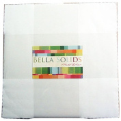 Moda BELLA SOLIDS WHITE 25cm Layer Cake Fabric Squares 9900LC-98