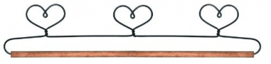 New - Fabric Holder With 38cm Dowel-3 Hearts by Ackfeld