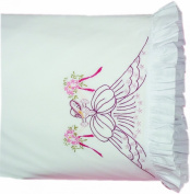 Fairway Needlecraft 82587 Vintage Ruffled Edge Pillowcases, Bouquet Lady Design, Standard, White