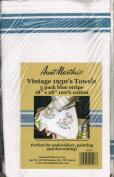 Vintage Stripe Towel 46cm x 70cm 3/Pkg-White W/Blue Stripe