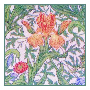 Counted Cross Stitch Chart Orange Iris by Arts and Crafts Movement Founder William Morris
