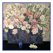 Counted Cross Stitch Chart inspired by Charles Rennie Mackintosh's Pinks (Dianthus) Flowers