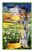 Field of Lilies inspired by the work of Art Nouveau and Stained Glass Artist Louis Comfort Tiffany Counted Cross Stitch Chart from Watercolour
