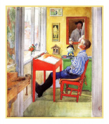 Swedish Artist Carl Larsson Ulf Doing Homework Counted Cross Stitch Chart from Watercolour