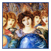 The Angel of Creation detail by Arts and Crafts Edward Burne-Jones Counted Cross Stitch Chart