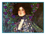 Art Nouveau Artist Gustav Klimt's Portrait Emilie Floege Detail Counted Cross Stitch Chart/Graph CHART ONLY- NO FLOSS/FABRIC INCLUDED