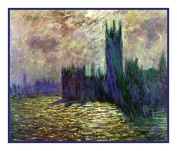 Houses of Parliament inspired by Claude Monet's impressionist painter Counted Cross Stitch Chart