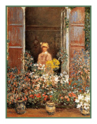 Camille at the Window inspired by Claude Monet's impressionist painter Counted Cross Stitch Chart