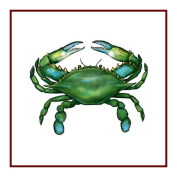 Nautical Seashore Green Blue Crab Counted Cross Stitch Chart