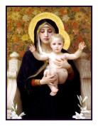 Madonna of the Lilies inspired by the work of William-Adolphe Bouguereau Counted Cross Stitch Chart