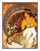 The Arts Music by Alphonse Mucha Counted Cross Stitch Chart