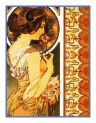 Cowslip by Alphonse Mucha Counted Cross Stitch Chart