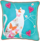 Dimensions Needlecrafts Feltworks Embroidery, Blue Cat Pillow