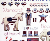 New OOP Cross Stitch Pattern Leaflet. Patiotic Motifs. Alma Lynne Designs for Jeanette Crews. Presidental Election