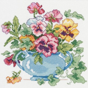 Pansies Counted Cross Stitch Kit-18cm x 18cm 14 Count