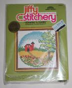 "Vintage 1979 Jiffy Counted Cross Stitch "" Summer Flowers "" Stitchery Kit - Designed by Terrece Woodruff"