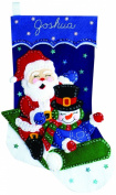 Design Works Felt Embroidery Applique kit Stocking Stocking - Sledding Friends