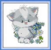 Happy Forever Cross Stitch, Cartoon animals, The lovely cat