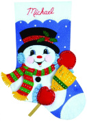 Design Works Felt Embroidery Applique kit Stocking - Snowman With Broom