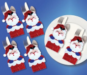 Design Works Felt Applique kit 6 Pockets - Santa In Chimney Silverware