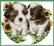 Happy Forever Cross Stitch, Animals dogs, kiss