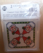NMI NEEDLEMAGIC #3061 COUNTED CROSS STITCH (2) SANTA COASTERS