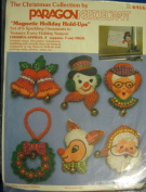 """Paragon Needlecraft Christmas """"Magnetic Holiday Hold-Ups""""; By Virginia Ballman; 6416; Set of Six Sparkling Ornaments"""
